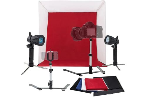 Kshioe Studios Light Tent Kit, Table Top Photography Lighting Box with Tripod Stand Phone Clip Holder and Backdrops (24in24in)