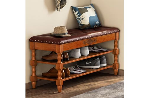 Tribesigns Shoe Bench, Solid Wood Storage Benchs Entryway with Lift Top, 2-Tier Vintage Style Shoe Rack with Tufted Leather Accents