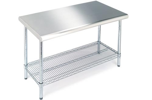 "Seville Classics Commercial-Grade NSF Top Work Tables, 49"" W x 24"" D x 35.5"" H, Stainless Steel"