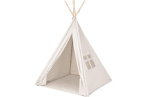 Best Choice Products 6ft Kids Cotton Canvas Teepee Playhouse Sleeping Dome Play Tents w/ Carrying Bag - White