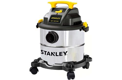 Stanley 5 Gallon Wet Dry Vacuums, 4 Peak HP Stainless Steel 3 in 1 Shop Vac Blower with Powerful Suction, Multifunctional Shop Vacuums W/ 4 Horsepower Motor for Job Site,Garage,Basement,Van,Workshop