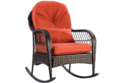 ARABYAN BROTHERS Patio Rattan Wicker Rocking Chairs Porch Deck Rocker Outdoor Furniture W/Cushion