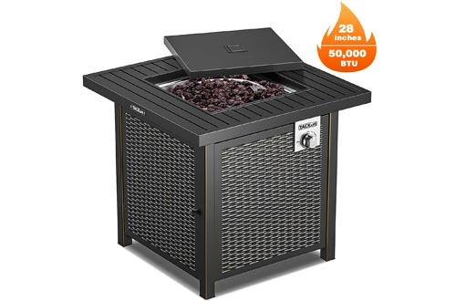 TACKLIFE Propane Fire Pits Table, Outdoor Companion, 28 Inch 50,000 BTU Auto-Ignition Gas Fire Pits Table with Cover, ETL Certification and Strong Striped Steel Surface, as Table in Summer, Stove in Win