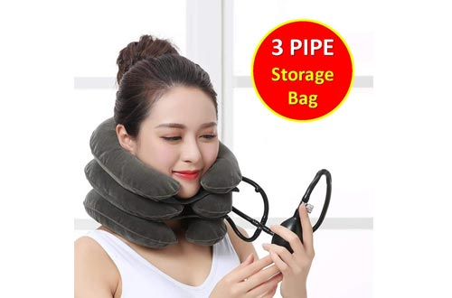 TONELIFE Cervical Neck Traction Devices - Instant Pain Relief for Chronic Neck - Effective Pain Relieving Remedy at Home - Adjustable Traction Collar - Cervical Pillow with Storage Bag