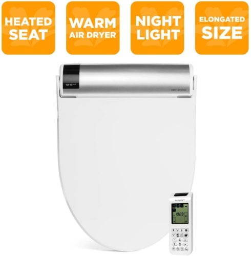 BioBidet Bliss BB2000 Elongated White Bidet Smart Toilet Seat, Premier Class, Unlimited Warm Water, Self Cleaning Hydroflush, Hybrid Heating, Wireless Remote Control, Inviting Nightlight, Vortex Wash TOP 10 BEST BIDET TOILET COMBO IN 2020 REVIEWS