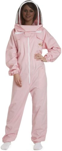 Natural Apiary - Apiarist Beekeeping Suit - (All-in-One) - Fencing Veil - Total Protection for Professional and Beginner Beekeepers - Pink - Small