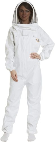Natural Apiary – Apiarist Beekeeping Suit - (All-in-One) - Fencing Veil - Total Protection for Professional and Beginner Beekeepers – Medium - White