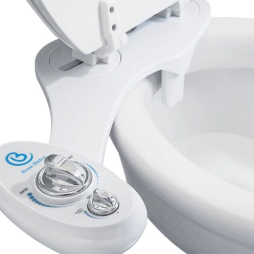 Bidet Toilet Seat Attachment by BOSS | Fresh Water Sprayer | Cleans Your Rear 1.3 Seconds| Dual Nozzle | Self Cleaning | Manual | Non Electric | Luxury White & Black | 1 Year Warranty