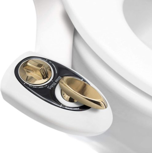 Bidet Toilet Seat Attachment by BOSS | Fresh Water Sprayer | Cleans Your Rear Better Than You Can | Dual Nozzle | Self Cleaning | Manual | Non Electric | BOLD White & Gold | 1 Year Warranty