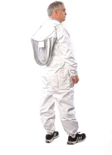 Beekeeping Suit by Forest Beekeeping | Suitable for Beginner and Commercial Beekeepers | White Cotton Coverall with Hood | Brass Zippers | Thumb Straps | 12 inch Leg Zippers (XL)