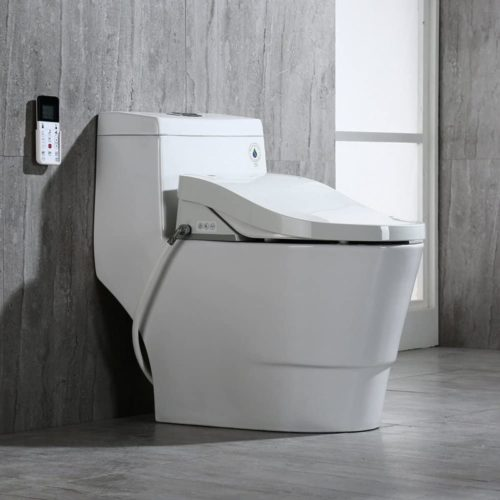WOODBRIDGE Luxury, Elongated One Piece Advanced Bidet, Smart Toilet Seat with Temperature Controlled Wash Functions and Air Dryer, T-0008, 31 x 18 x 28 inches, Toilet & Bidet