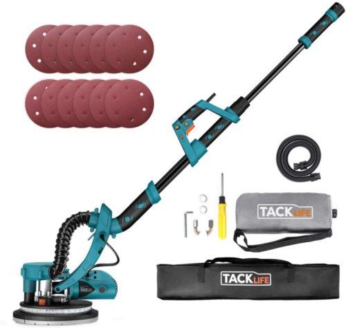 TACKLIFE 800W Drywall Sander with Turbofan Dust Collection Design, Double-Deck LED Lights 6 Variable Speed, 12 Sanding Discs, High Dust Suction, Extendable Handle and Carry Bag, for Grinding Dry Walls