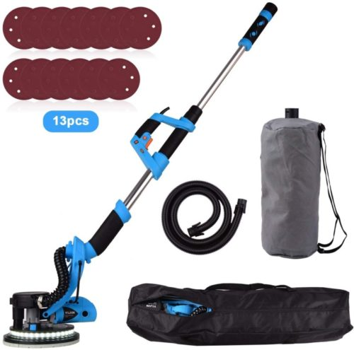 Drywall Sander, YIJIN 800W Drywall Vacuum Sander with Turbofan Dust Collection Design, 13 Sanding Discs, Double-Deck LED Lights 6 Variable Speed, Extendable Handle and Carry Bag, ETL Listed