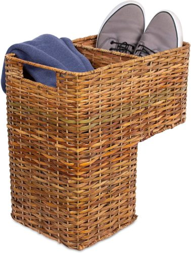 BIRDROCK-HOME-Stair-Basket-for-Staircases-Wicker-Woven-Storage-Bin-for-Stairs-Natural-Brown-Organizer-Baskets-Cut-Out-Handles-Reduce-Clutter