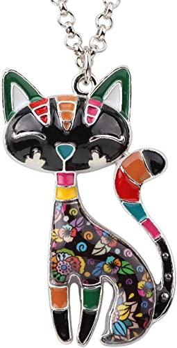 BONSNY-Statement-Enamel-Alloy-Chain-Cat-Necklaces-Pendant-Original-Design-for-Women-Girls