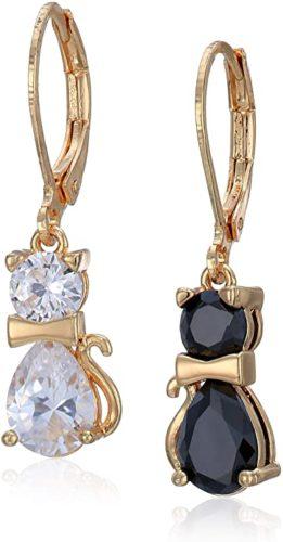 Betsey-Johnson-GBG-CZ-Cat-Drop-Earrings-CrystalBlack-One-Size