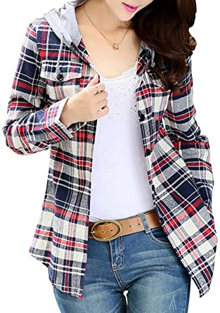 BomDeals-Womens-Classic-Plaid-Cotton-Hoodie-Button-up-Flannel-Shirts