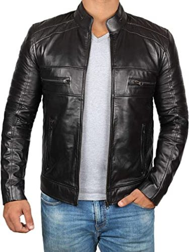 Brown-Leather-Jacket-Mens-Cafe-Racer-Real-Lambskin-Leather-Distressed-Motorcycle-Jacket