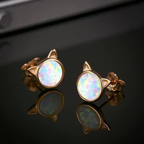 Cat-Earrings-Opal-Earrings-18K-Gold-Plated-Sterling-Silver-Opal-Jewelry-for-Women-Opal-Cat-Stud-Earrings-Opal-Jewelry-for-Women