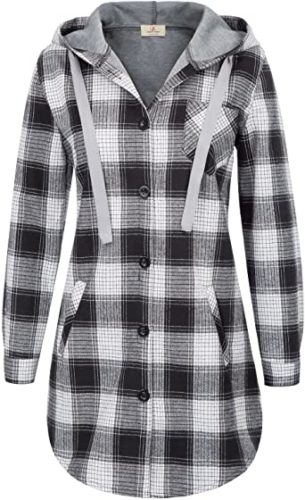 GRACE-KARIN-Women-Long-Sleeve-Hooded-Jacket-Flannel-Plaid-Button-Down-Shirt-Top-with-Pockets