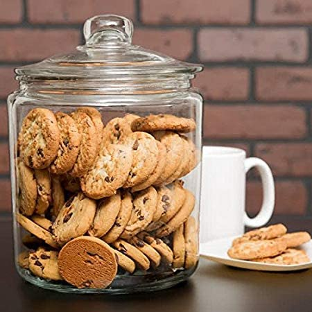 Glass-Cookie-Candy-Penny-Jar-with-Glass-Lid-1-Gallon-Old-Fashioned-Clear-Round-Storage-Container