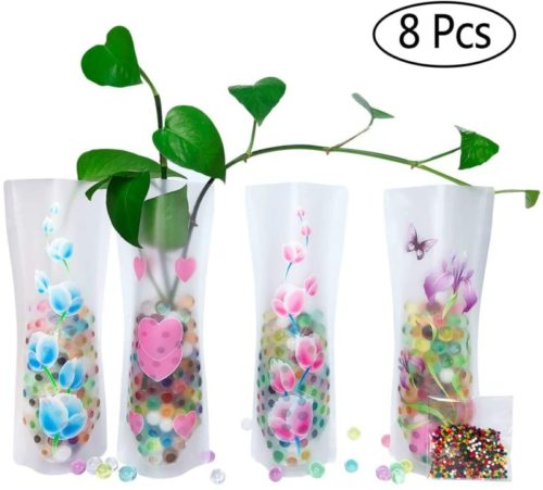 HGFF-Collapsible-Expandable-Plastic-Vase-8-PCS-and-Water-BeadsAbout-800PCS-Reusable-for-Travel-Vacations-Camping-Weddings-Table-Decor