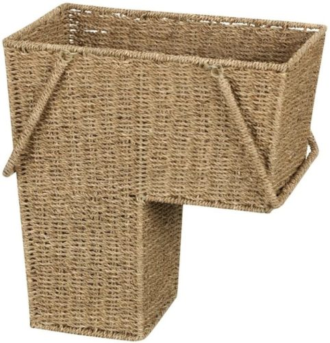 Household-Essentials-ML-5647-Seagrass-Wicker-Stair-Step-Basket-with-Handle-Natural-Brown