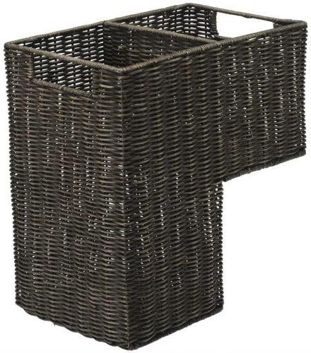"KOUBOO 1060066 Wicker Stair Step Basket in Wash, 15"" x 9.5"" x 15.75"", Dark Brown"