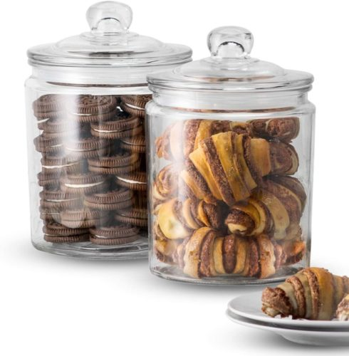KooK-Glass-Storage-Canister-Clear-Jar-With-Clear-Glass-Lid-12-Gallon-Set-of-2