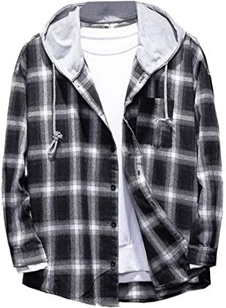 Lavnis-Mens-Plaid-Hooded-Shirts-Casual-Long-Sleeve-Lightweight-Shirt-Jackets