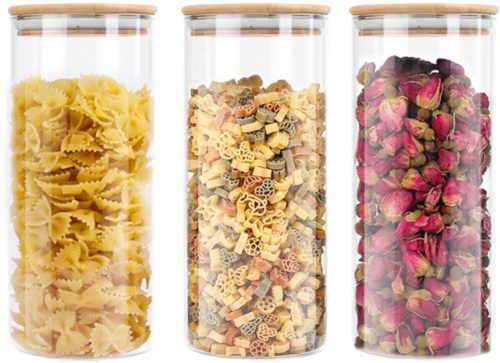 Lawei-3-pack-Glass-Storage-Jars-with-Sealed-Bamboo-Lids-51-oz-Clear-Glass-Bulk-Food-Storage-Canister-for-Serving-Tea-Coffee-Spice-Candy-Cookie
