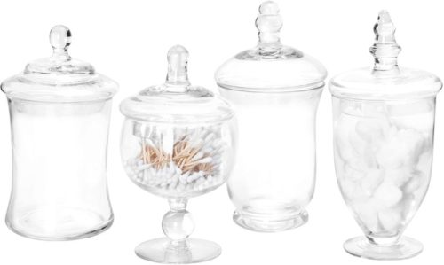 MyGift-Set-of-4-Small-Clear-Glass-Apothecary-JarsCandy-Buffet-Containers-with-Lids
