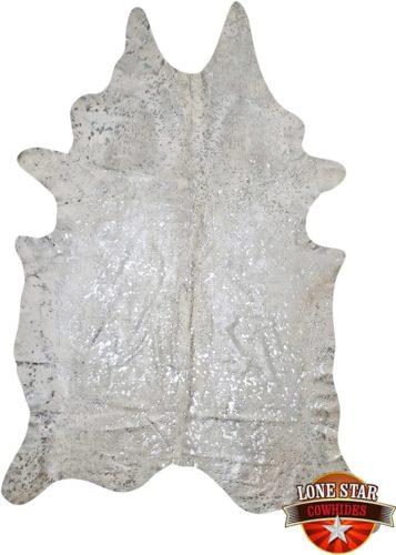 Silver-on-White-Devore-Metallic-Brazilian-Cowhide-Rug