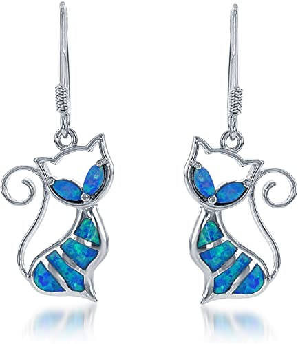 Sterling-SilverRose-Gold-Plated-Created-Blue-or-White-Opal-Cat-Earrings