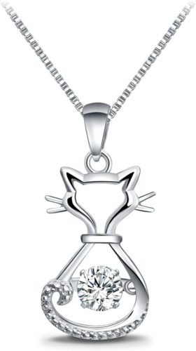 T400-925-Sterling-Silver-Cat-Fox-Swan-Pendant-Necklace-with-Dancing-Diamond-Stone-Cubic-Zirconia-Birthday-Gift-for-Women-Girls