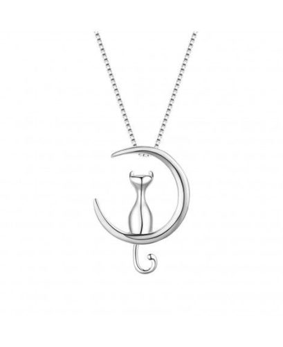 WRISTCHIE-Sterling-Silver-Jewelry-Cat-On-Moon-Pendant-Necklace-18
