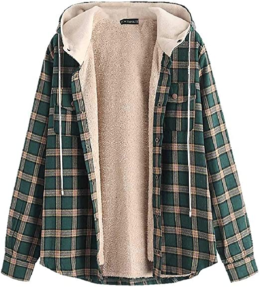 ZAFUL-Casual-Plaid-Fleece-Jacket-Flannel-Lined-Unisex-Men-Drawstring-Hooded-Fuzzy-Hoodie