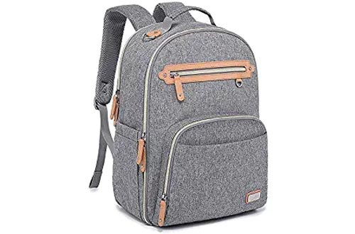 Diaper Bags Backpack, WELAVILA Large Baby Changing Bags with Insulated Pockets & Changing Pad, Multi-Function Unisex Travel Back Pack (Gray)