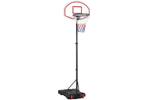 Yaheetech Portable Basketball Hoops System Height Adjustable Basketball Stand for Kids Indoor/Outdoor w/Wheels, 29 Inch Backboard