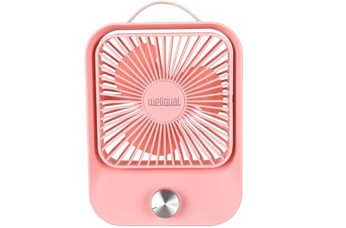 Desk Fans Small Table Fans Rechargeable Battery Operated Mini Fans Rotation Fans 5 inch Portable Fans Stepless Speed Long Working Time USB Personal Fans for Home office Travel Camping (pink)