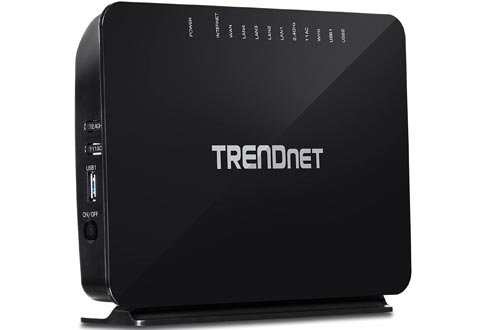 TRENDnet AC750 Wireless VDSL2/ADSL2+ Modem Routers, 200 Mbps VDSL Downstream Speeds, USB share ports, TEW-816DRM
