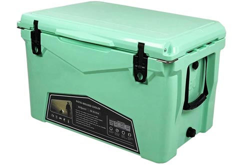 Xspec 60QT Quart Roto Molded High Performance Coolers Pro Tough Outdoor Ice Chest, Durable Stylish Rotomolded with Bottle Openers, Vacuum Release Valve, and Low Profile Snap Tight Latches