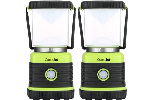Consciot Ultra Bright LED Camping Lanterns with 1000LM, D Battery Powered, 4 Light Modes, Dimmable Water-Resistant Lanterns, Portable Flashlight for Camping, Hiking, Emergency, Power Outage, 2-Pack