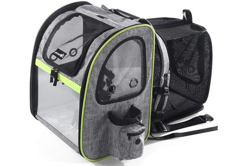 Pecute Pet Carrier Backpacks, Dog Carrier Backpacks, Expandable with Breathable Mesh for Small Dogs Cats Puppies, Pet Backpacks Bag for Hiking Travel Camping Outdoor Hold Pets Up to 18 Lbs