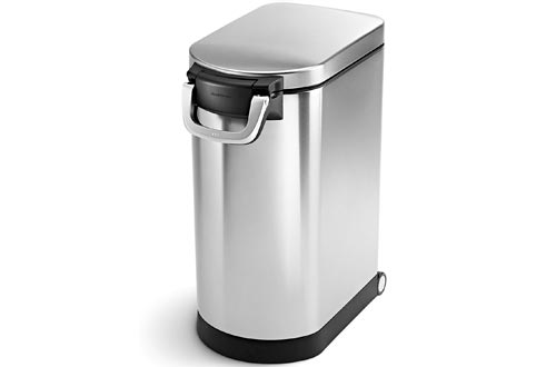 simplehuman 30 Liter, 32 lb / 14.5 kg Large Can, Brushed Stainless Steel pet food storage containers, 30-Liter