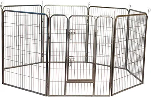 Iconic Pet Heavy Duty Metal Tube Pens Pet Dog Exercise and Training Playpen in Varying Sizes - Portable Exercise Puppy Cage with 8 Interlocking Metal Tube Panels, No Tools Required to Setup