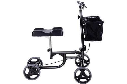 Steerable Knee Walker Scooters Disabled Elderly Alternative Walking Stick/Crutches Knee Single-Legged Bicycle Assisted Walking Four-Wheeled Walker Black