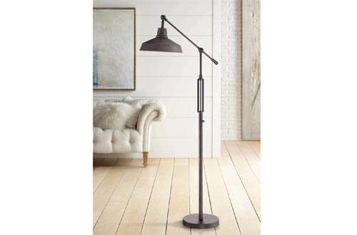 Turnbuckle Industrial Downbridge Floor Lamps LED Oil Rubbed Bronze Adjustable Metal Shade for Living Room Reading Bedroom - Franklin Iron Works