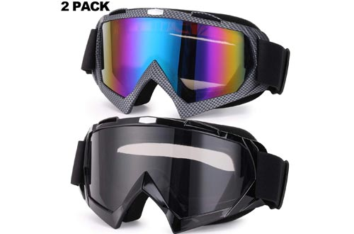 Rngeo Ski Goggles, 2 Pack Snowboard Goggles for Men, Women, Youth, with Durable ABS Frame, UV 400 Protection, Wind Resistance, Anti-Glare Lenses & Soft Foam (2 Colors in 1)