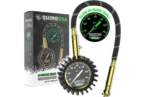 Rhino USA Heavy Duty Tire Pressure Gauges (0-75 PSI) - Certified ANSI B40.1 Accurate, Large 2 inch Easy Read Glow Dial, Premium Braided Hose, Solid Brass Hardware, Best for Any Car, Truck, Motorcycle